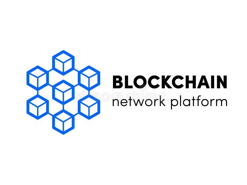 Blockchain molnserver eller vara värdlogo Design för mall för nätverk för vektorkvarterkedja isometrisk för cryptocurencybitcoin, stock illustrationer