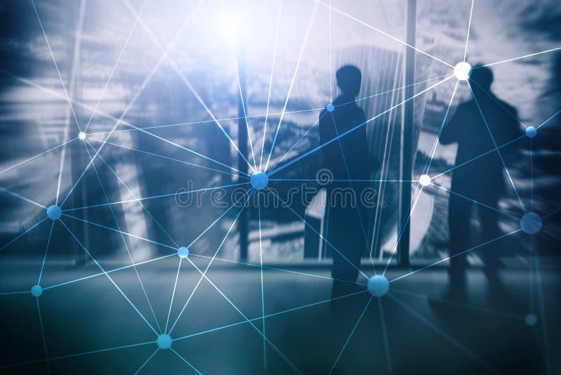 Blockchain nätverk på suddig skyskrapabakgrund Finansiellt teknologi- och kommunikationsbegrepp arkivfoton