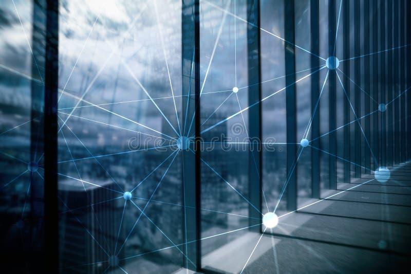 Blockchain nätverk på suddig skyskrapabakgrund Finansiellt teknologi- och kommunikationsbegrepp fotografering för bildbyråer