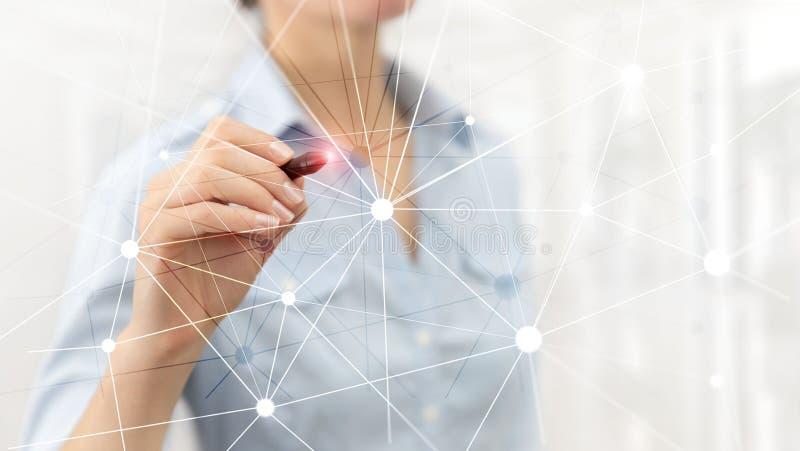 Blockchain n?tverk p? suddig skyskrapabakgrund Finansiellt teknologi- och kommunikationsbegrepp royaltyfri bild