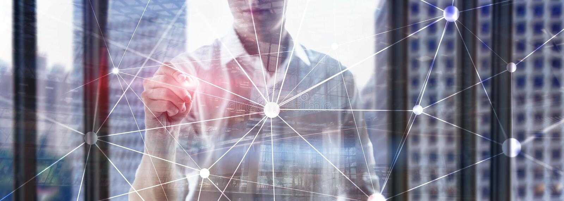 Blockchain n?tverk p? suddig skyskrapabakgrund Finansiellt teknologi- och kommunikationsbegrepp arkivbild