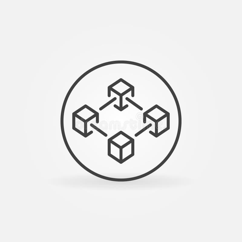 Blockchain nella linea icona del cerchio r royalty illustrazione gratis