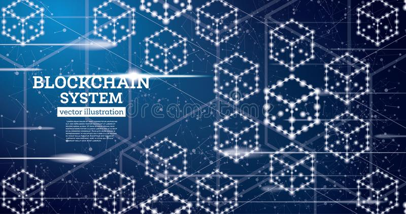 Blockchain Neon Outline Concept on Blue Background. stock illustration