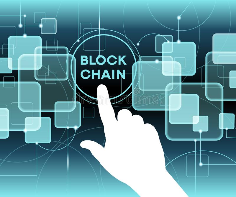 Blockchain cryptocurrency template. Blockchain network concept , Distributed ledger technology , Block chain text and computer connection. The file is saved in royalty free illustration