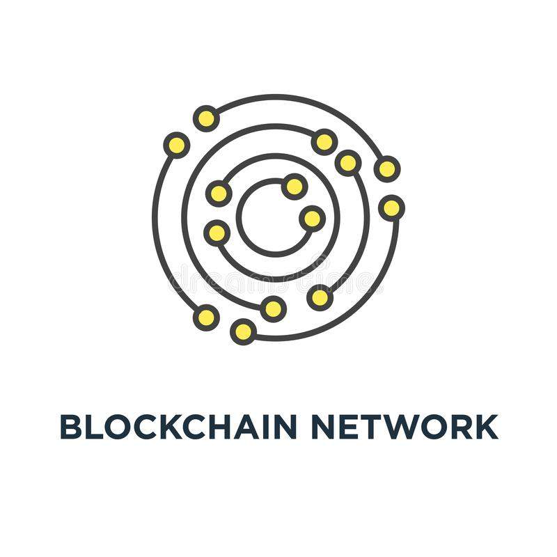 blockchain network icon. neural network, consists of round shapes and dots, outline on white, concept symbol design, big data, royalty free illustration