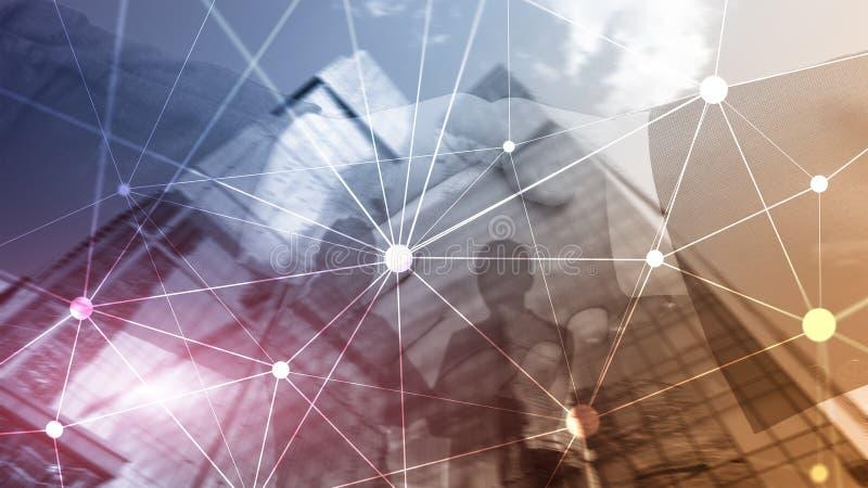 Blockchain-Netz auf unscharfem Wolkenkratzerhintergrund Finanztechnologie- und Kommunikationskonzept vektor abbildung