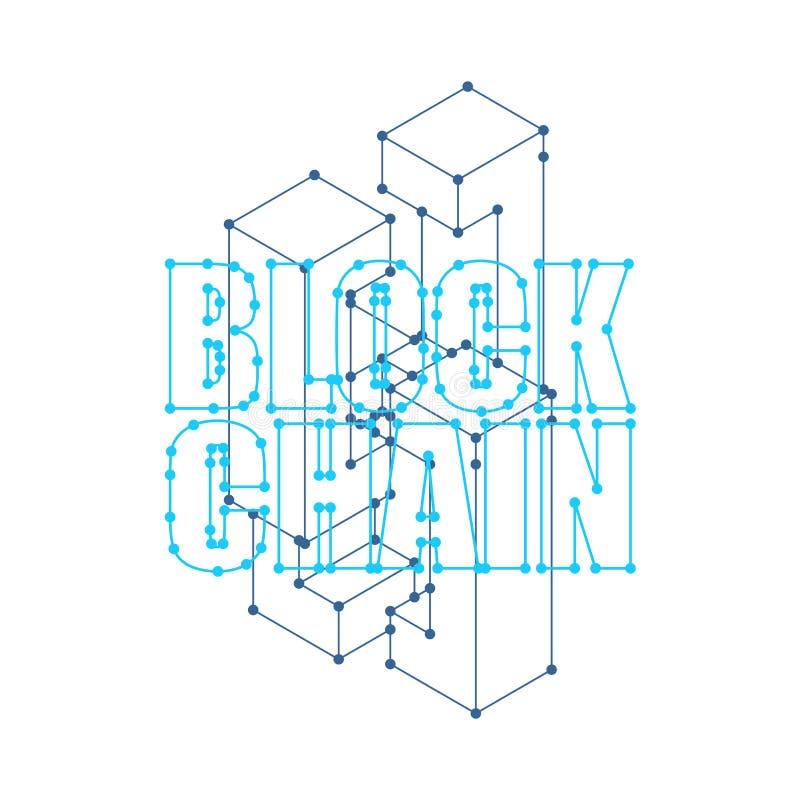 Blockchain-Netz lokalisiert Cyberkonzeptmatrix Blockchain V stock abbildung