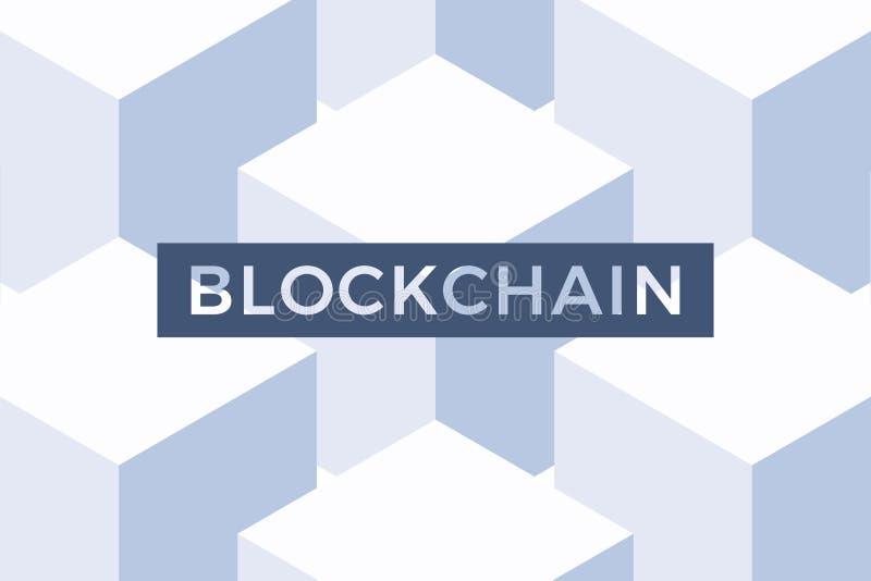 Blockchain-Netz und cryptocurrency Technologievektorkonzept mit abstrakten Würfeln auf dem Hintergrund Schieber, Fahnendarstellun lizenzfreie abbildung