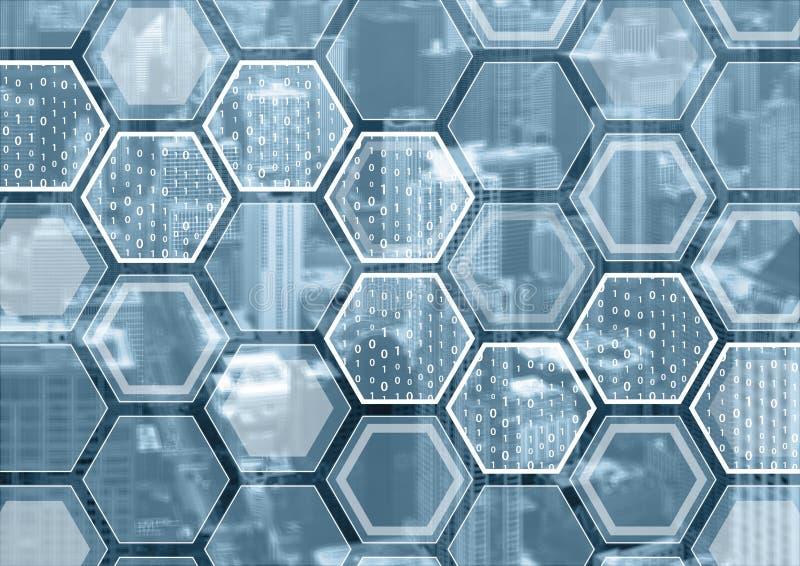 Blockchain o fondo azul y gris de la numeración con el modelo formado hexagonal fotos de archivo libres de regalías