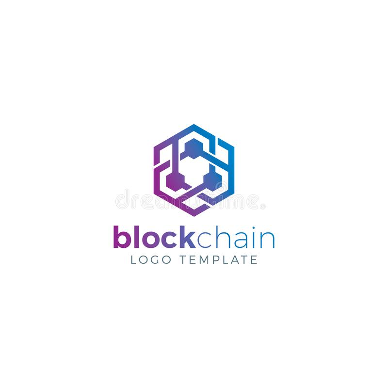 Blockchain och Cryptocurrency Logo Concept royaltyfri bild