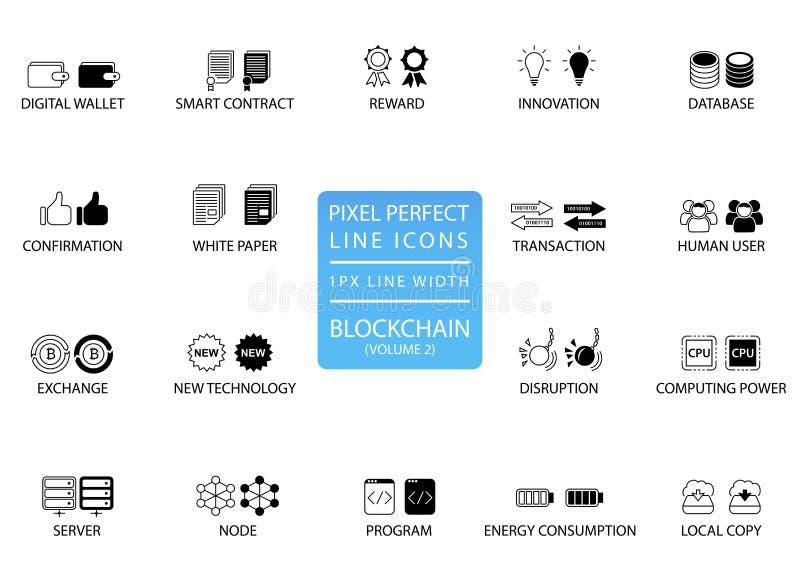 Blockchain och för cryptocurrency tunn linje symbolsuppsättning Perfekta symboler för PIXEL med 1 pxlinje bredd för optimal app-  royaltyfri illustrationer