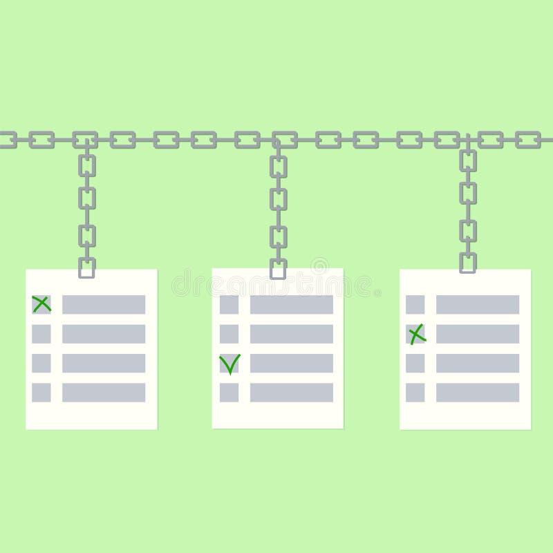 Blockchain online stemmingsconcept royalty-vrije illustratie