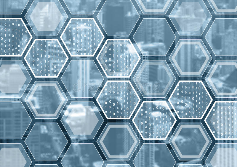 Blockchain ou fundo azul e cinzento da numeração com teste padrão dado forma sextavado fotos de stock royalty free