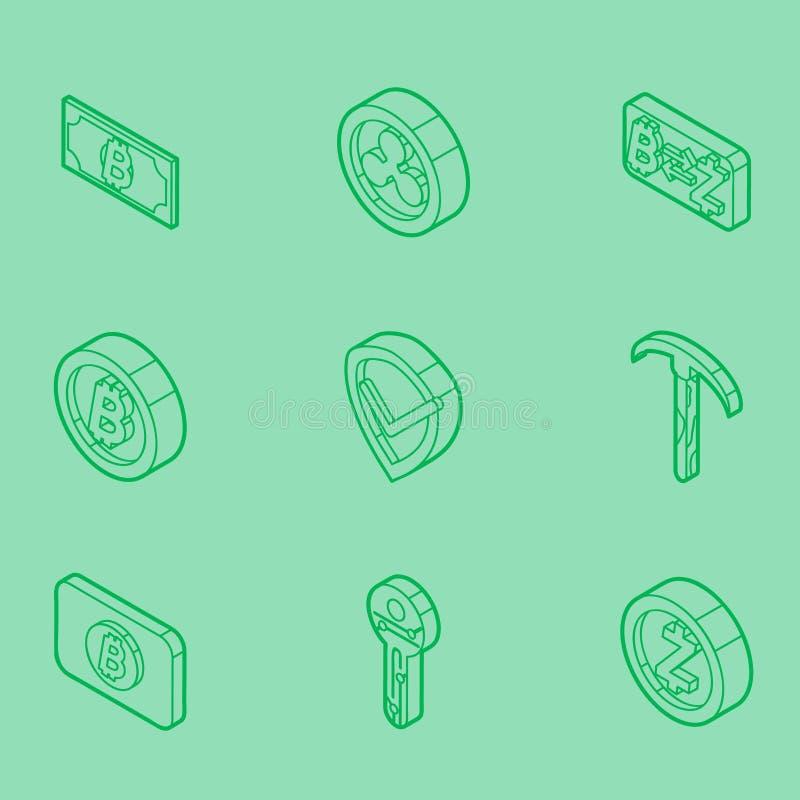 Blockchain outline isometric icons stock illustration