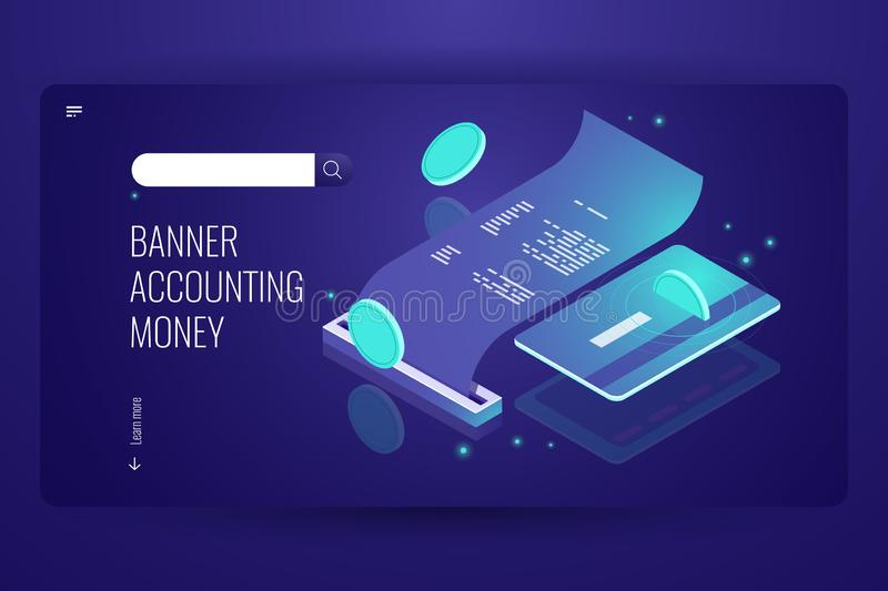 Blockchain payment concept, isometric internet online pay and bank, electronic bill and billing information, printing stock illustration