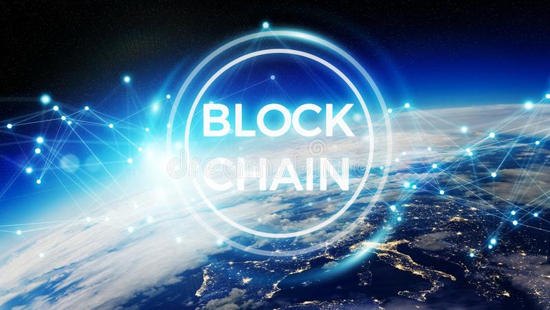 Blockchain on planet Earth 3D rendering vector illustration