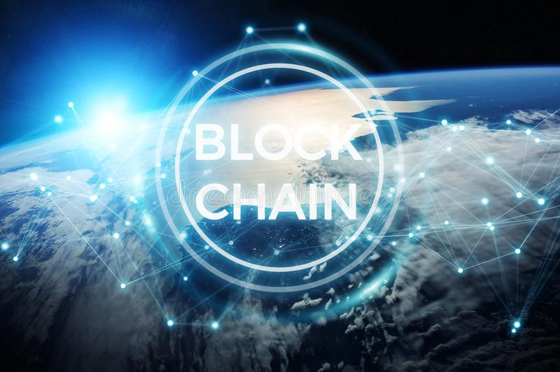 Blockchain on planet Earth 3D rendering stock illustration