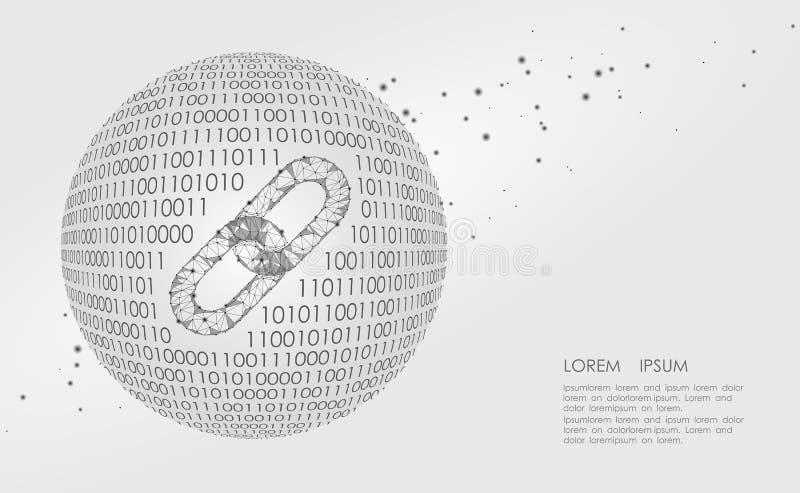 Blockchain połączenia znaka depresja poli- Internetowej technologia łańcuchu ikony trójboka hyperlink poligonalnej planety Ziemsk royalty ilustracja