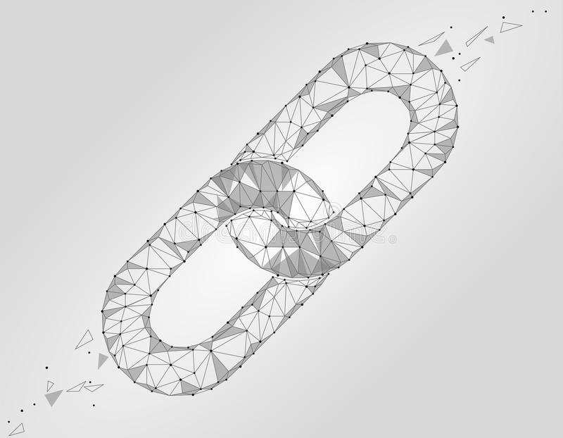 Blockchain połączenia znaka niski poli- projekt Internetowego technologia łańcuchu ikony trójboka hyperlink ochrony poligonalny b ilustracji
