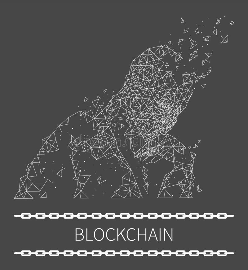 Blockchain Poster Text with Human Thinking Vector. Blockchain poster with text and human shape made of geometric forms. Thinking person, deep in thought with stock illustration