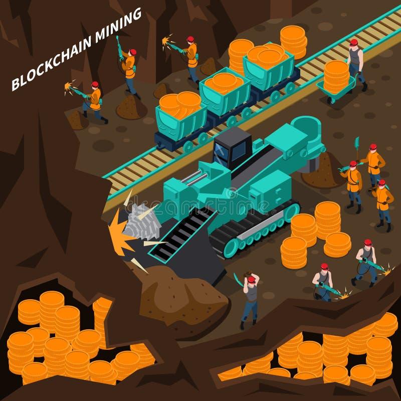 Blockchain que mina o conceito isométrico ilustração royalty free