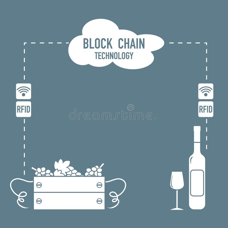 Blockchain. RFID technology. Winemaking from the collection of grapes to wine tasting. Vector. Blockchain. RFID technology. Winemaking from the collection of royalty free illustration