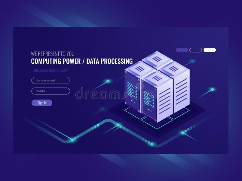 Blockchain serweru pojęcie, kwantowy komputer, serweru pokój, baza danych, ewidencyjny magazyn i przerobu isometric wektor, royalty ilustracja