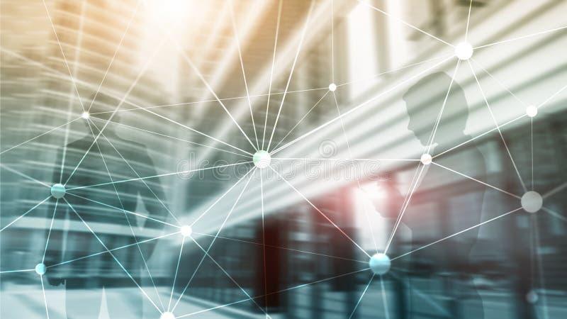 Blockchain sieć na zamazanym drapacza chmur tle Pieniężny technologii i komunikaci pojęcie ilustracji