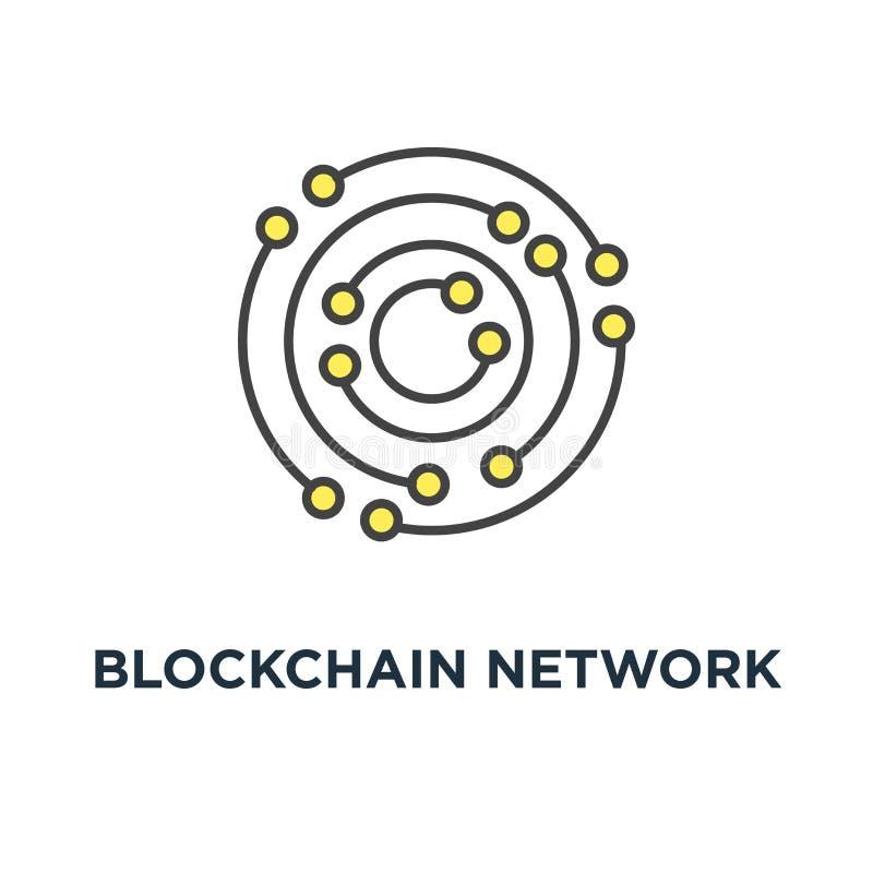 Blockchain sieci ikona neural sieć, składa się wokoło kształtów i kropek, kontur na bielu, pojęcie symbolu projekt, duży dane, royalty ilustracja