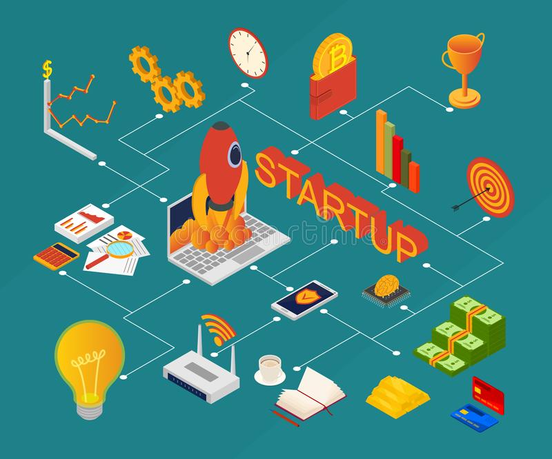 Blockchain Startup Signs 3d Icons Set Isometric View. Vector stock illustration