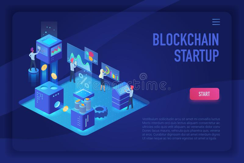 Blockchain startup team. Cryptocurrency and blockchain isometric ultraviolet light landing page vector template with vector illustration