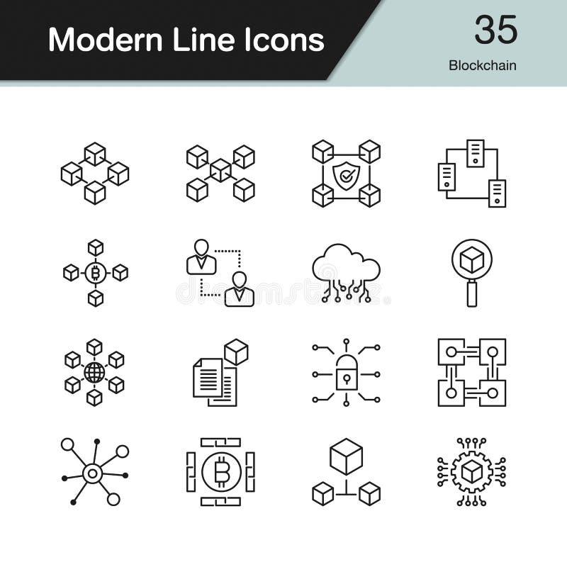 Blockchain symboler Modern linje designuppsättning 35 För presentation G royaltyfri illustrationer