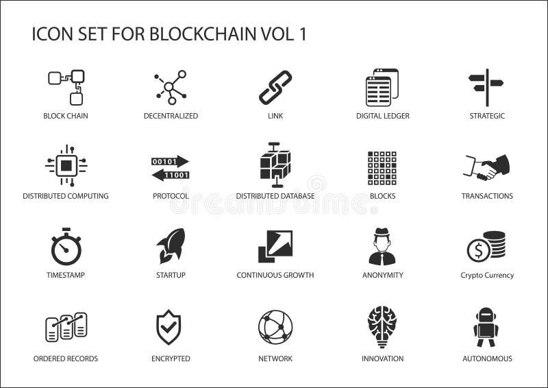 Blockchain symbolsuppsättning vektor illustrationer
