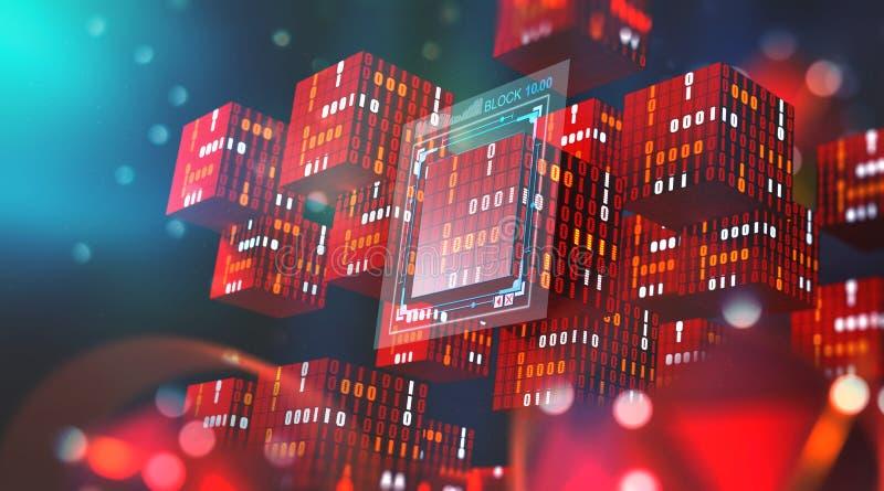 Blockchain technologia Ewidencyjni bloki w cyfrowej przestrzeni Decentralizująca globalna sieć Cyberprzestrzeni ochrona danych ilustracji
