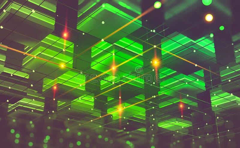 Blockchain technologia Futurystyczny kopalnictwa gospodarstwo rolne Cyberprzestrzeń abstrakta pojęcie Fintech technologia zdjęcie stock
