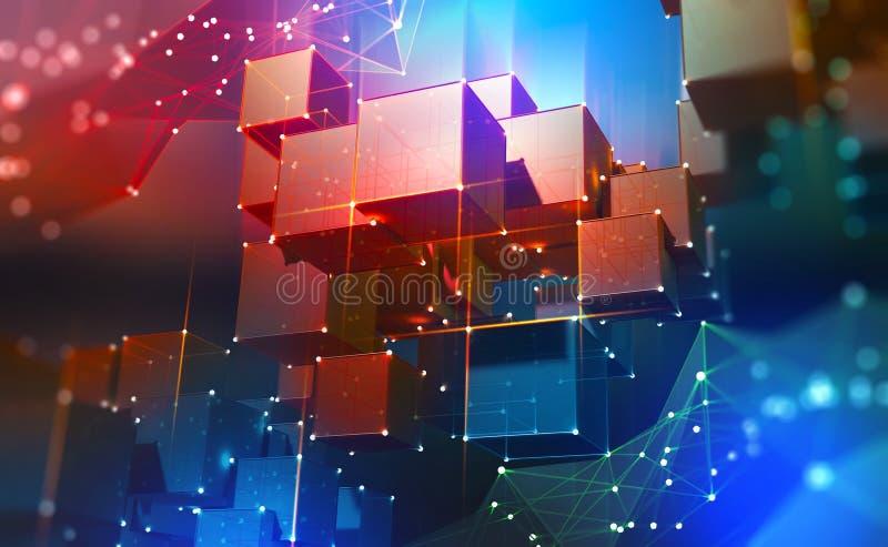 Blockchain-Technologie Bl?cke von Informationen in einem dezentralisierten Cyberspace vektor abbildung