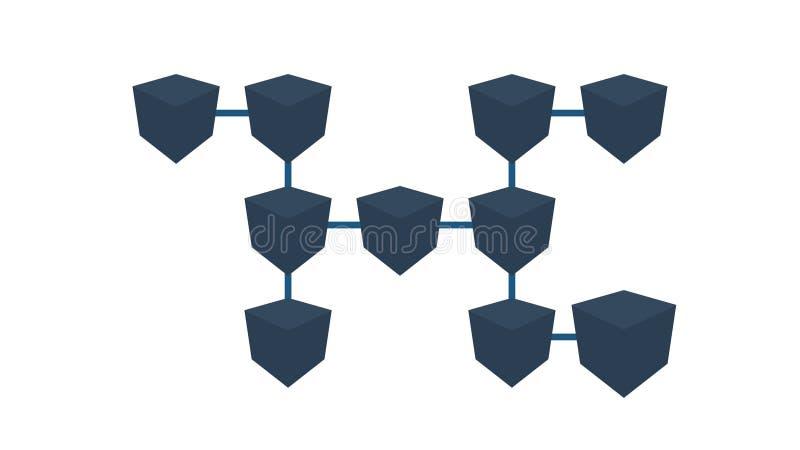 Blockchain-Technologie-Datenübertragung Blockchain-System Eine Wanne über einem Konzeptnetz von verbundenen Blöcken von Daten vektor abbildung