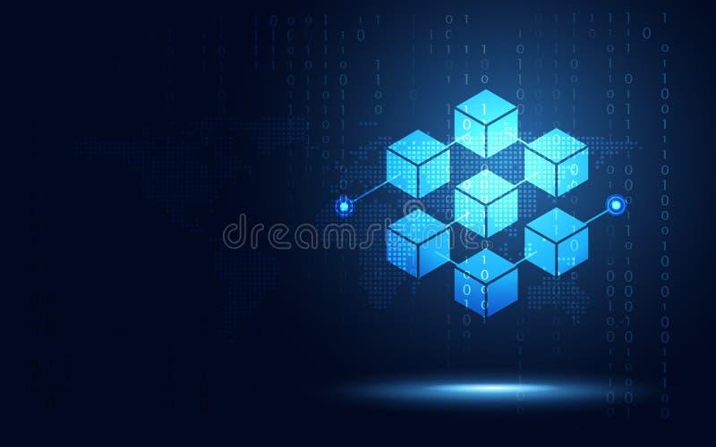 Blockchain-Technologie fintech cryptocurrency Blockketten-Serverzusammenfassungshintergrund Verbundener Block enthalten Kriptogra vektor abbildung