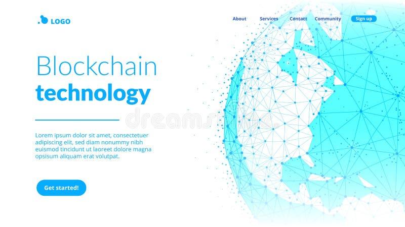 Blockchain-Technologie futuristische hud Fahne mit Weltkugel stock abbildung