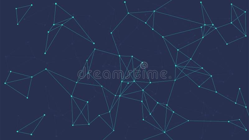 Blockchain technologii futurystyczny abstrakcjonistyczny wektorowy sztandar ilustracja wektor