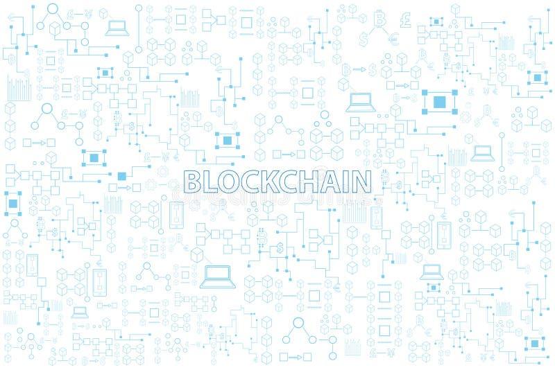 Blockchain technologii kolorowa kreskowa round wektorowa ilustracja dalej ilustracji