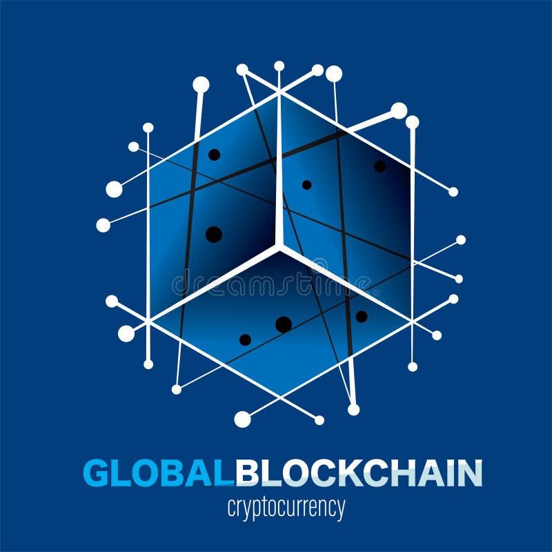Blockchain technologii logo ziemia łącząca wykłada mądrze ochronę ilustracji