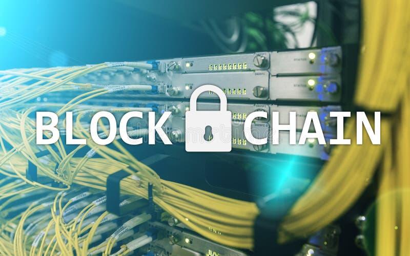 Blockchain technologii pojęcie na serweru tle Dane utajnianie zdjęcia stock