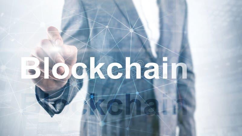 Blockchain technologii poj?cie na serweru tle Dane utajnianie obrazy stock