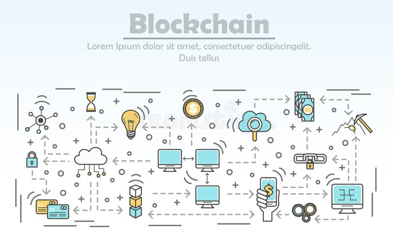 Blockchain technology advertising vector illustration in flat linear style. Blockchain technology advertising vector illustration. Blockchain for business ad vector illustration