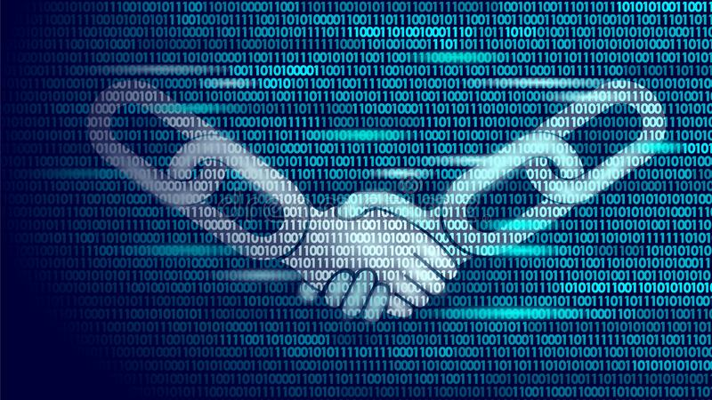Blockchain technology agreement handshake business concept low poly. Icon sign symbol binary code numbers design. Hands. Chain link internet hyperlink royalty free illustration