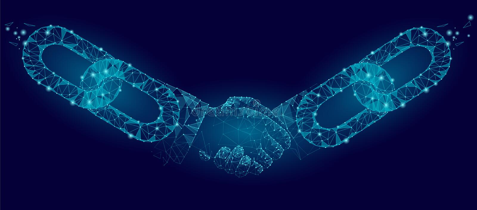 Blockchain technology agreement handshake business concept low poly. Polygonal point line geometric design. Hands chain. Link internet hyperlink connection blue vector illustration