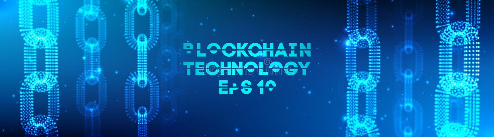 Blockchain technology background. Cryptocurrency fintech block chain network and programming concept. Abstract Segwit. royalty free illustration