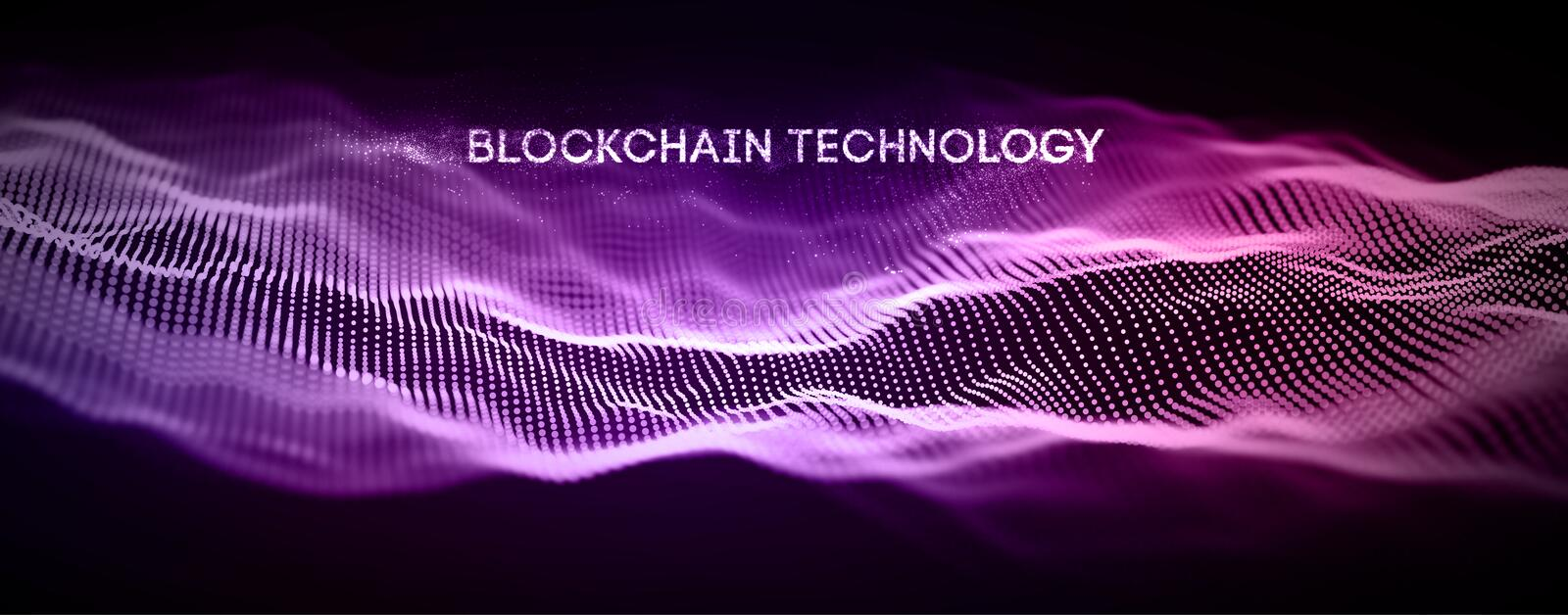 Blockchain technology background. Cryptocurrency fintech block chain network and programming concept. Abstract Segwit. stock illustration