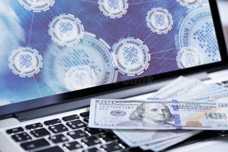 Blockchain technology background on laptop screen stock photo